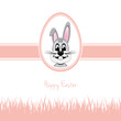 happy easter bunny white egg grass pink