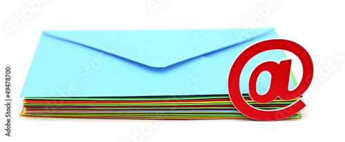 E-mail icon with colorful envelopes on white background. E-mail