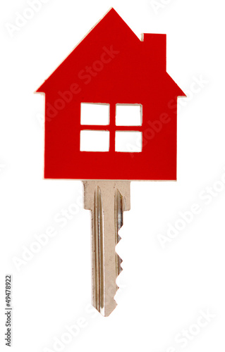 house key on white background