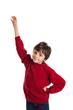 Elementary school student raising hand