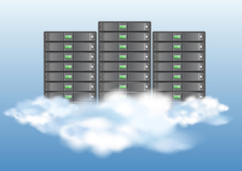 Cloud computing concept with servers