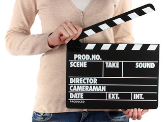 Movie production clapper board in hands isolated on white