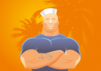 Strong sailor man on background of palm trees
