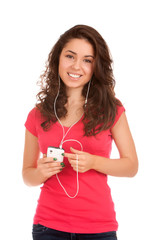 Teenage girl listen music
