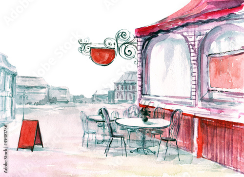 Papiers peints Drawn Street cafe recreation