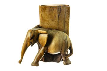 Wooden figure of an elephant.