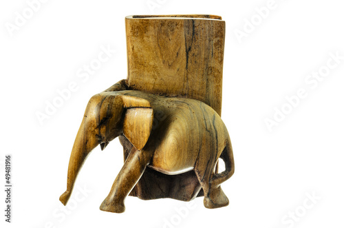 Wooden figure of an elephant.