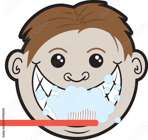 Man brushing teeth with multiple bubbles