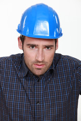 Portrait of a worried tradesman