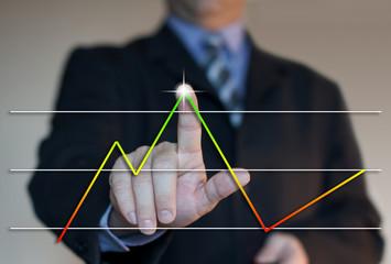 courbe de rentabilité avec business man