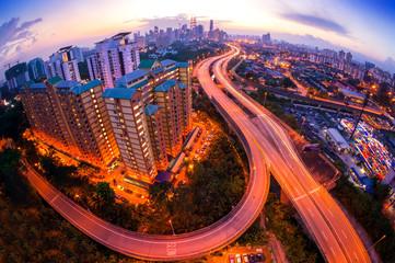 Fisheye Lens view of Kuala Lumpur City skyline