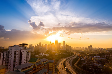 Sunset of the city center at Kuala Lumpur, Malaysia