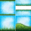 set of grass and sky backgrounds, eps10 format vector