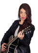Pretty brunette girl with a guitar