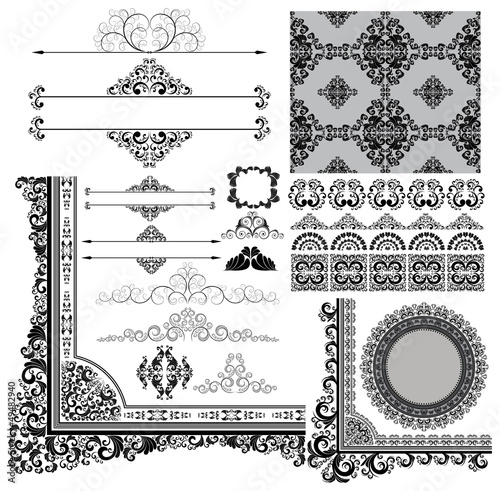 collection of various vintage design elements, eps8 vector