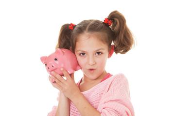 kid with money box savings