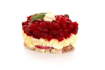 salad with beet, egg and herring