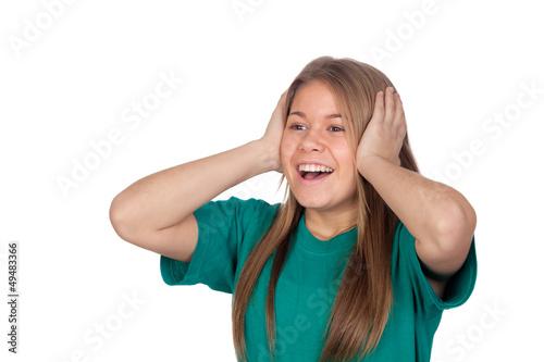 Surprised teenager girl