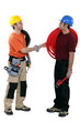 Electrician and plumber shaking hands