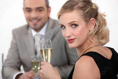 Couple drinking champagne.