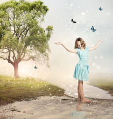 Girl with Blue Butterflies at a Magical Brook