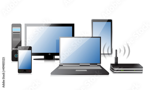 Computer, Laptop Tablet and Phone, router