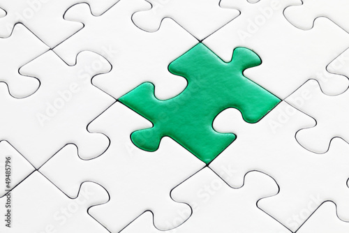 Jig Saw Puzzle - One Green Piece