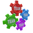 Teamwork - Four Gears Turning Together as Team