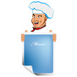 Happy joyful Chef and design your menu.Vector