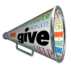 Give Bullhorn Megaphone Plea for Contributions Help