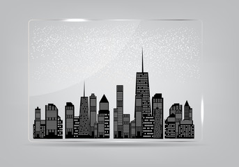 Glass frame with the city in the background. Vector illustration