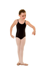 Young Ballet Dancer Practices Positions