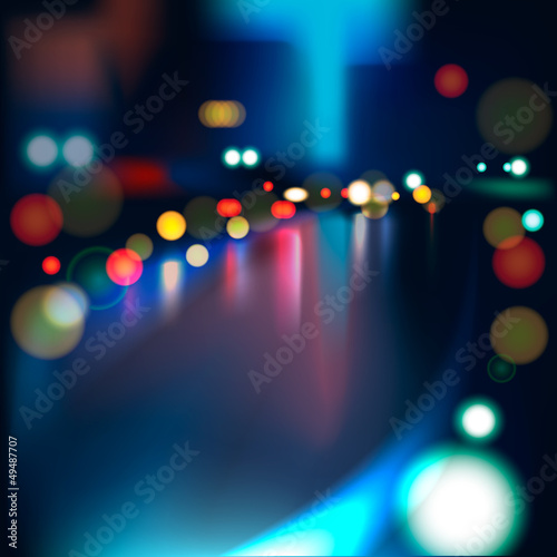Blurred Defocused Lights on Rainy City Road at Night