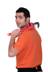A handyman with a wrench.