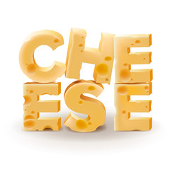 Word Cheese written with cheese, vector Eps10 illustration.