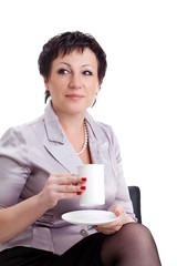 closeup portrait of  businesswoman with cup