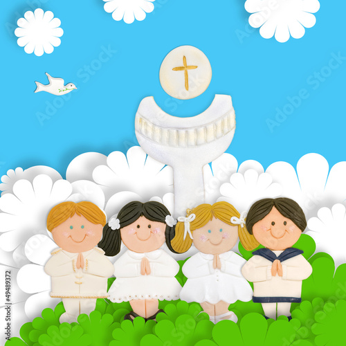children first communion, calyx and wafer