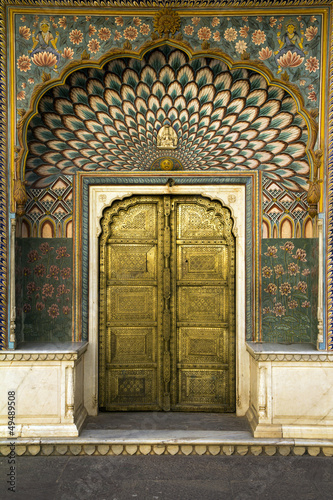 peacock door in Jaipur, India
