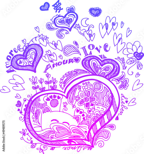 Love sketchy doodles with pink hearts and cats.