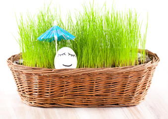 Funny smiling woman egg under umbrella in  basket with grass