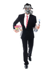 Business man with gas mask walking and holding food and drink
