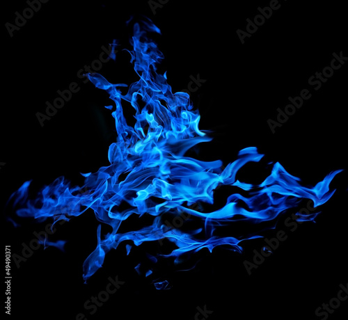 isolated on black abstract blue flame