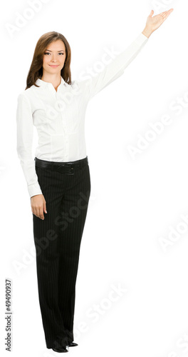 Full body of businesswoman showing, on white