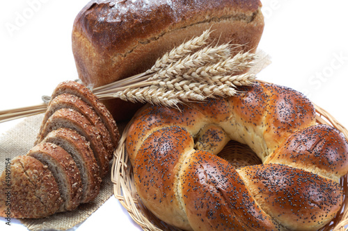 Fresh breads isolated on white background.