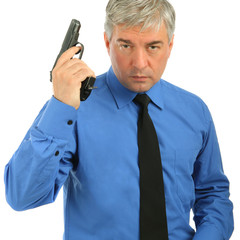 Close-up Portrait of adult man with the gun