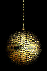Vector illustration of gold disco ball lights