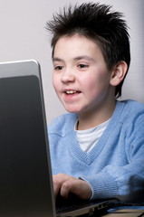 The boy with laptop