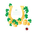 Frame for Saint Patrick's day design with gold coins