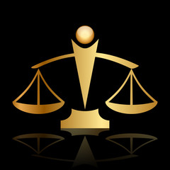Vector gold icon of justice scales on black background