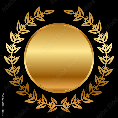 Vector gold laurels on black